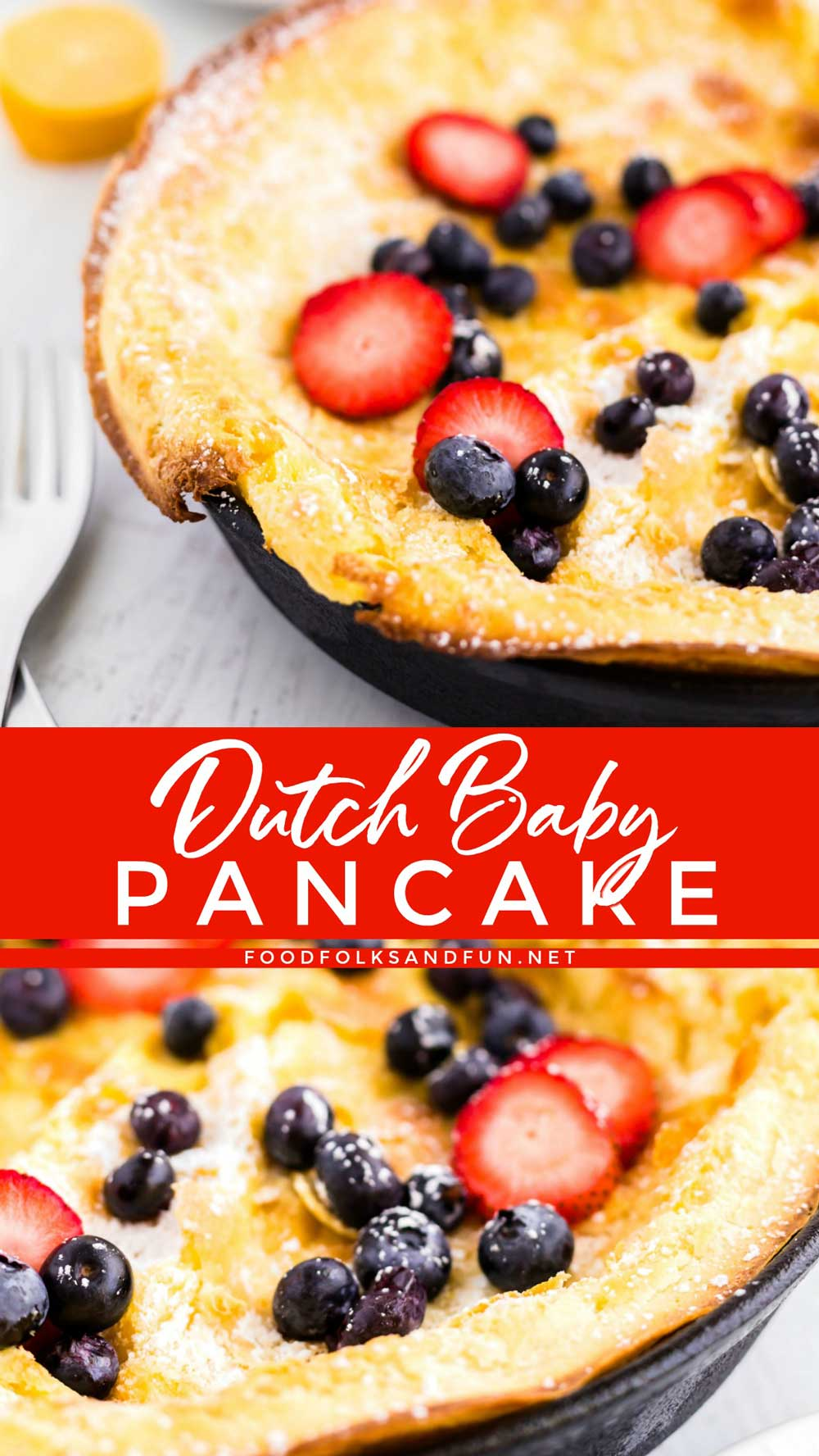 The crisp golden-brown edges and the custardy pancake interior makes this Vanilla Dutch Baby Pancake a favorite around the breakfast or brunch table! 