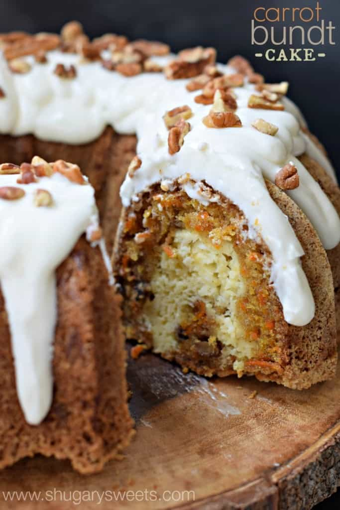 Carrot Cake Bundt cake with white drippy icing.