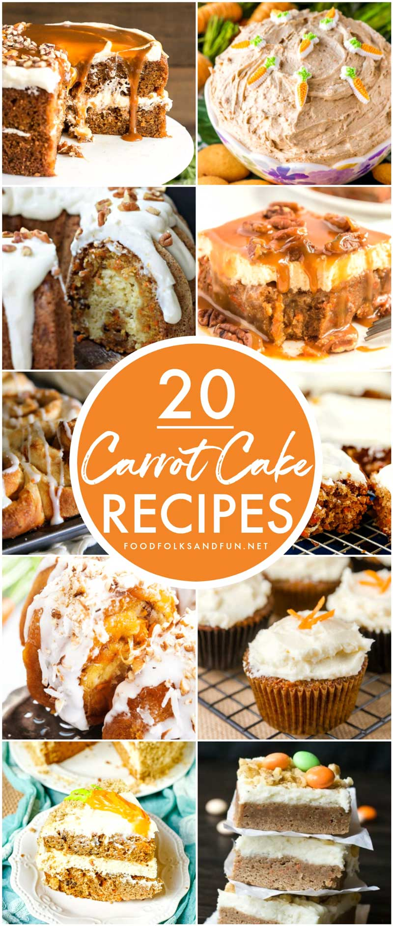 20 of the top Carrot Cake recipes from the top bloggers. Here you'll find carrot cake in different ways: cookies, dips, whoopie pies, trifles, monkey bread, donut holes, and more! via @foodfolksandfun