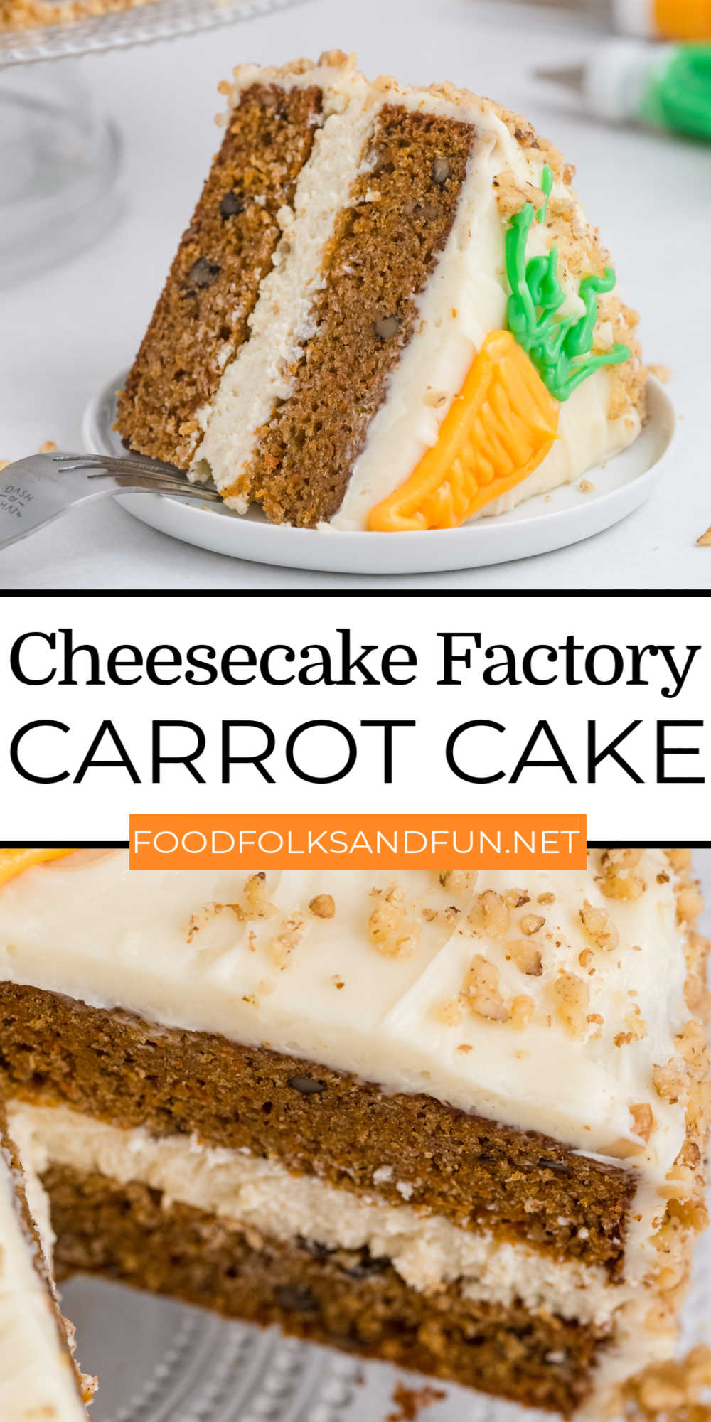 Cheesecake Factory Carrot Cake Cheesecake Copycathas two layers of delicious carrot cake, a layer of cheesecake, and is smothered in the best cream cheese frosting to make one glorious cake! via @foodfolksandfun