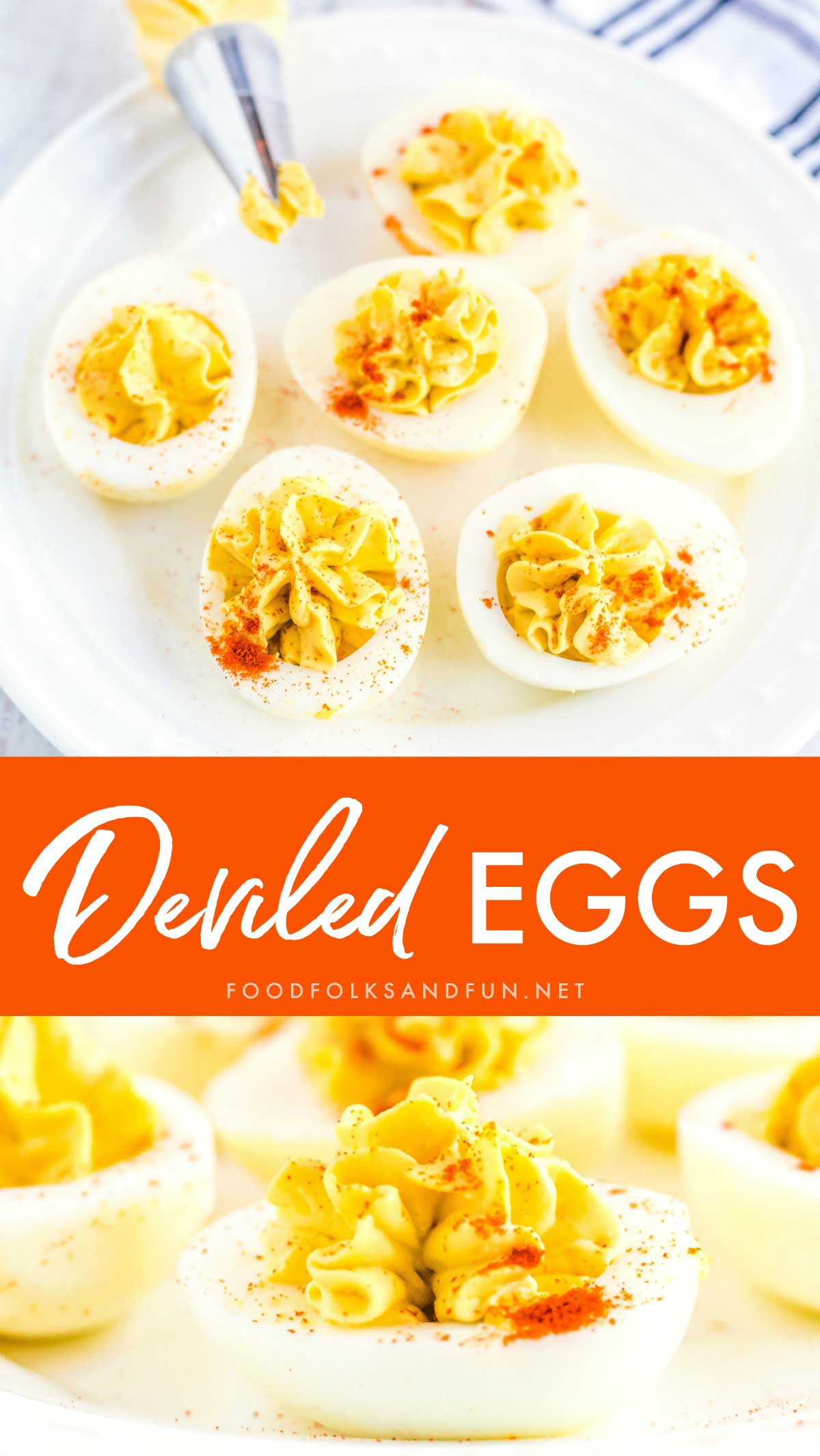 This classic Deviled Eggs recipe is always a crowd favorite at every party and barbecue. They're the perfect mouth-full of comfort food. #Appetizer #EasyAppetizer #EasterAppetizer #EasterRecipe #SpringRecipe #food #recipe #FingerFood #foodfolksandfun via @foodfolksandfun