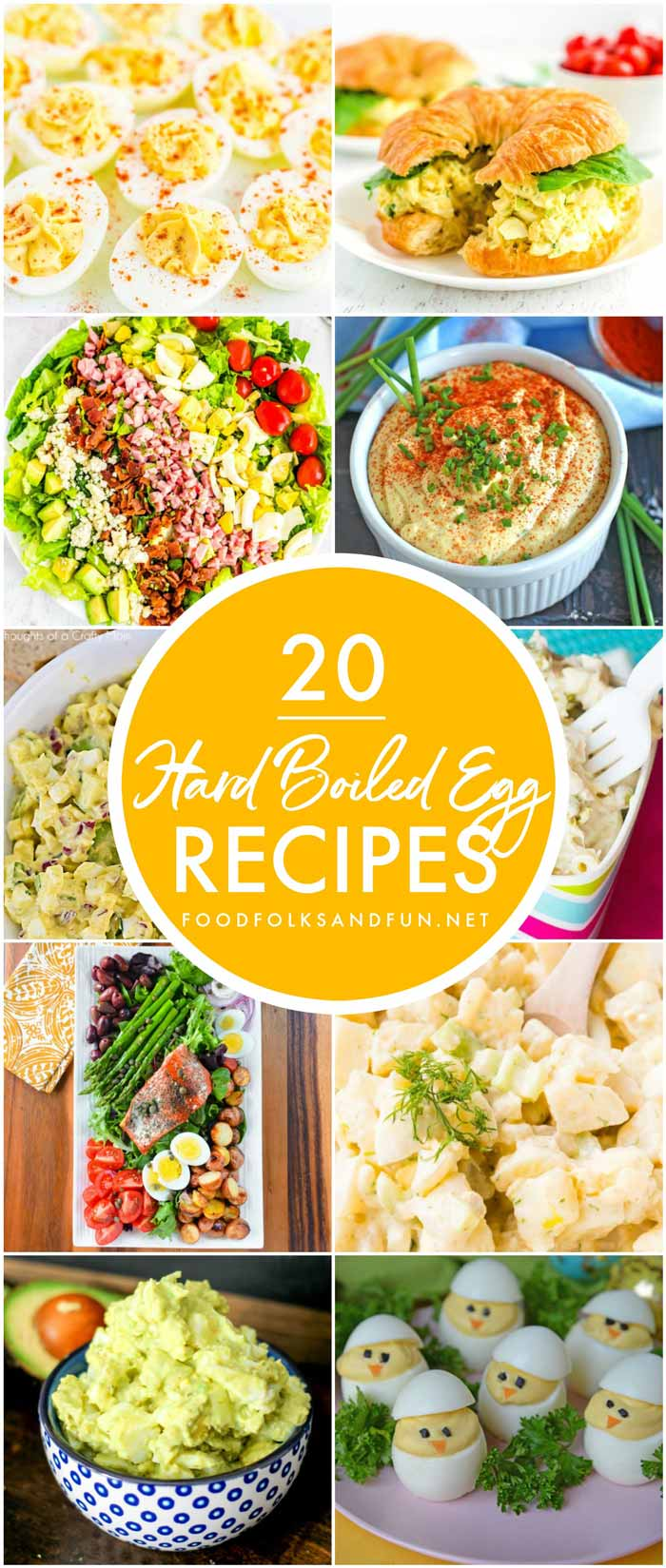 This Hard Boiled Egg Recipes Roundup has all of the recipes that you need to use up leftover Easter eggs! Here you'll find leafy salads, deviled eggs, egg salads, and more! #Easter #Spring #EasterRecipes #SpringRecipes #Eggs #HardBoiledEggs #Salads #foodfolksandfun via @foodfolksandfun