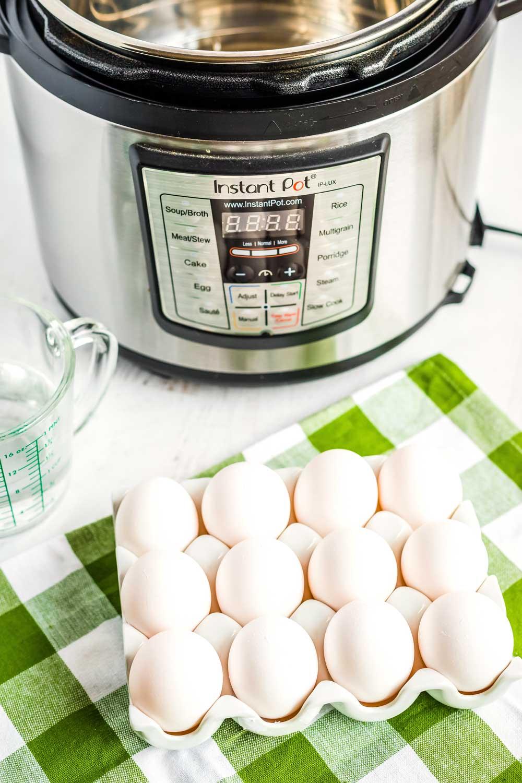 Hard-boiled eggs in an egg carton