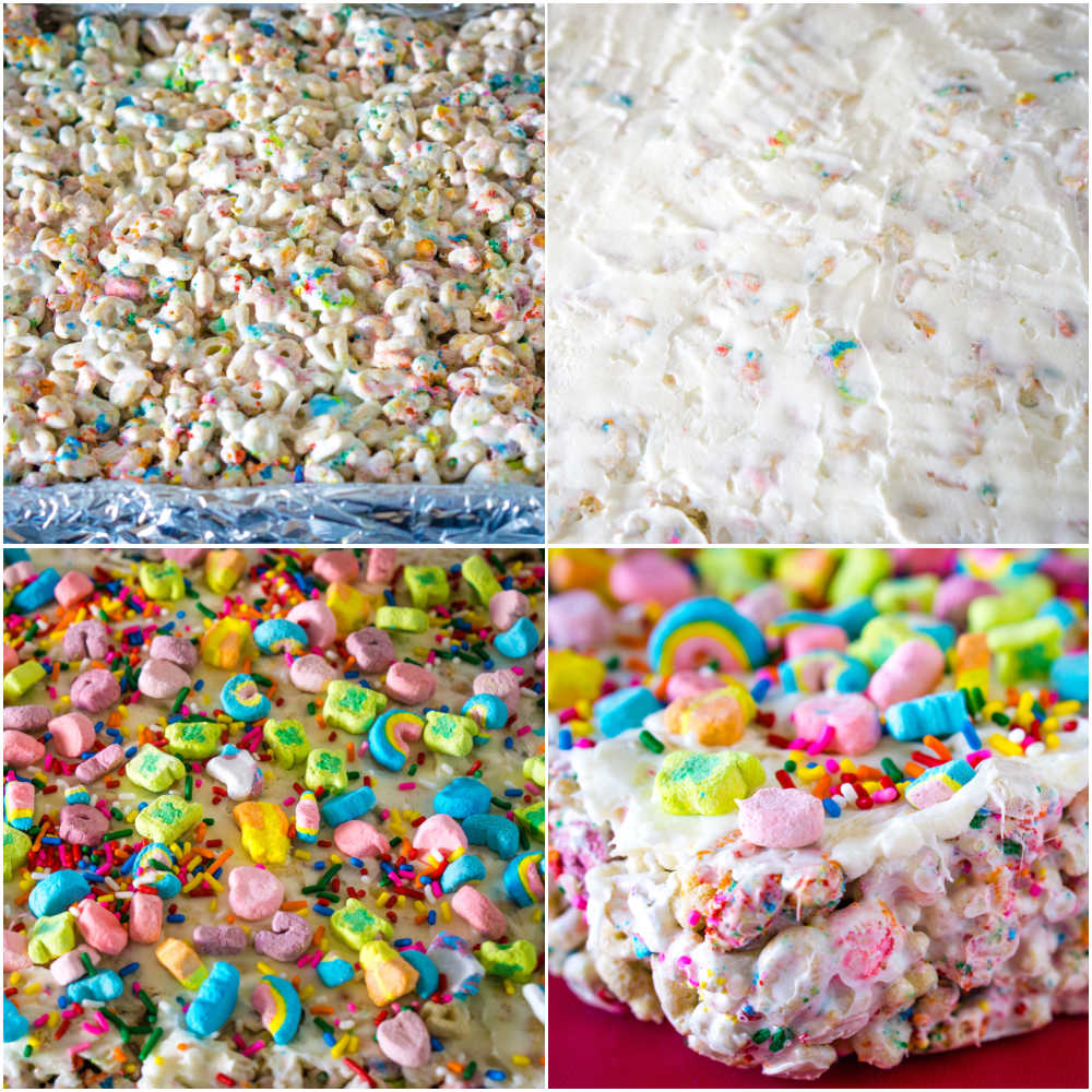 A picture collage of how to make Lucky Charms Treats.