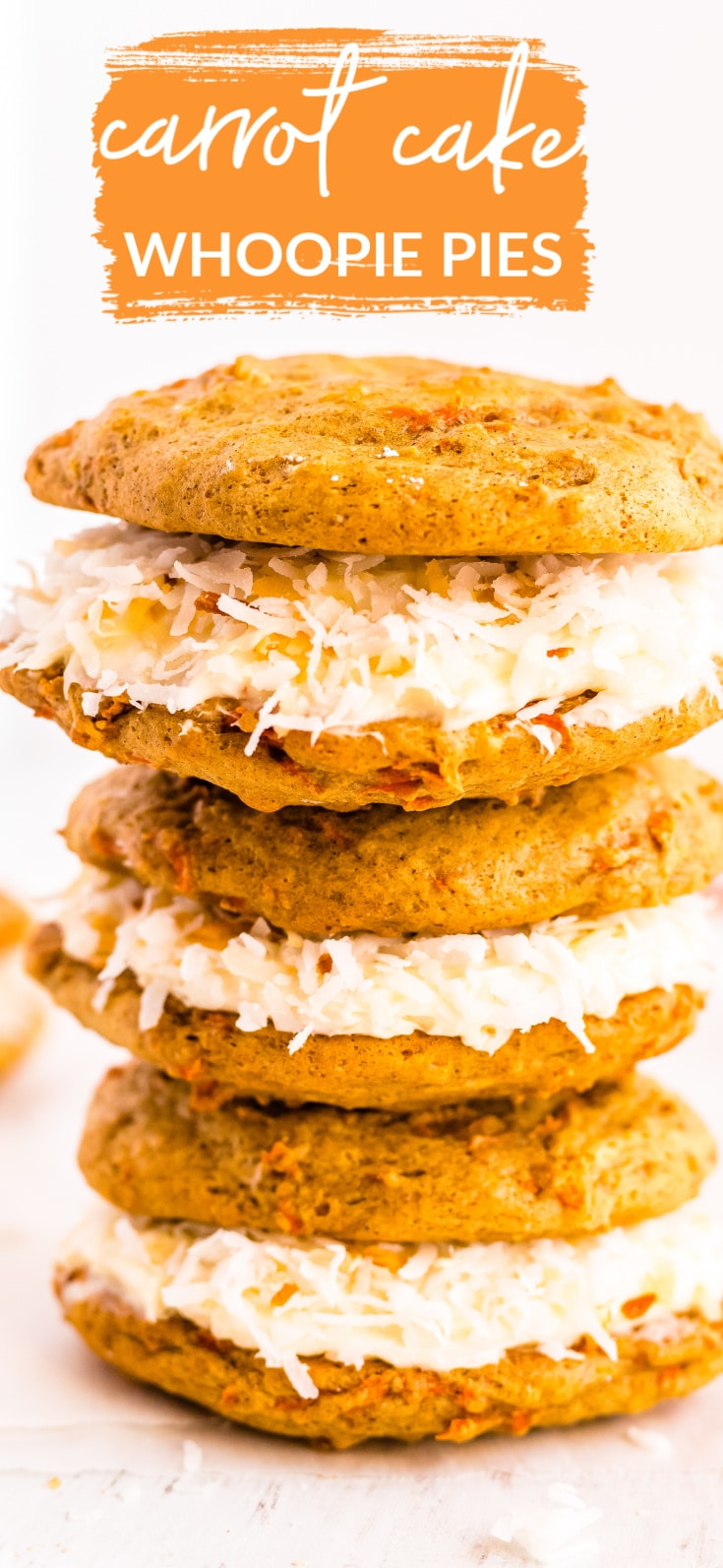 This Carrot Cake Whoopie Pies recipe is the perfect dessert for spring. It's everything you love about carrot cake but more compact. It's a little bit cookie, it's a little bit cake, and it's a whole lot of deliciousness! via @foodfolksandfun
