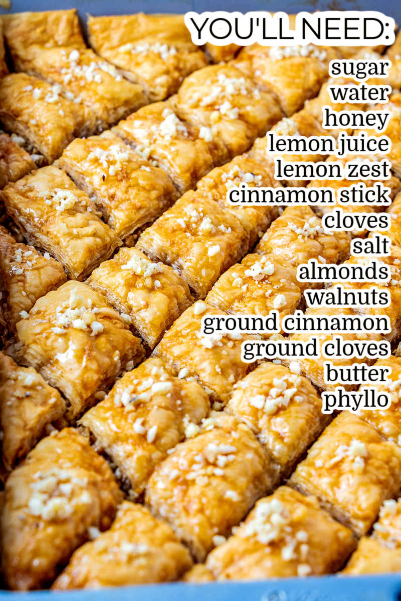 The finished Baklava with text overlay listing all of the ingredients needed to make this recipe.