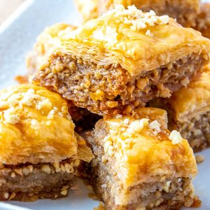 A close up picture of the finished Best Baklava Recipe stacked on top of each other.