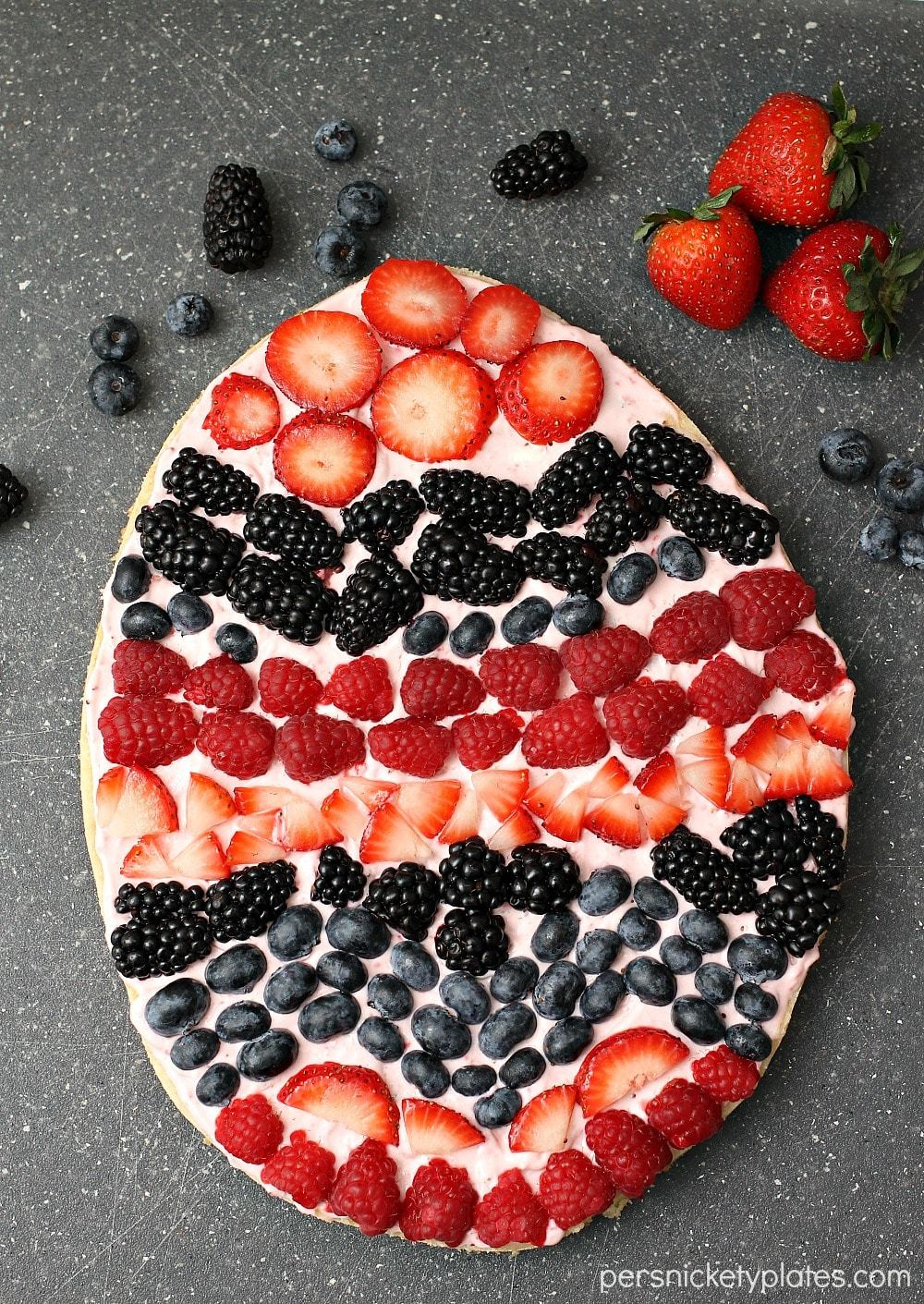 Easter Egg Fruit Pizza on a serving platter