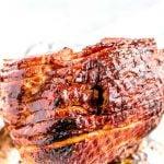 Broil the ham until the ham glaze begins to bubble.