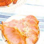 Sliced honey baked ham slices.