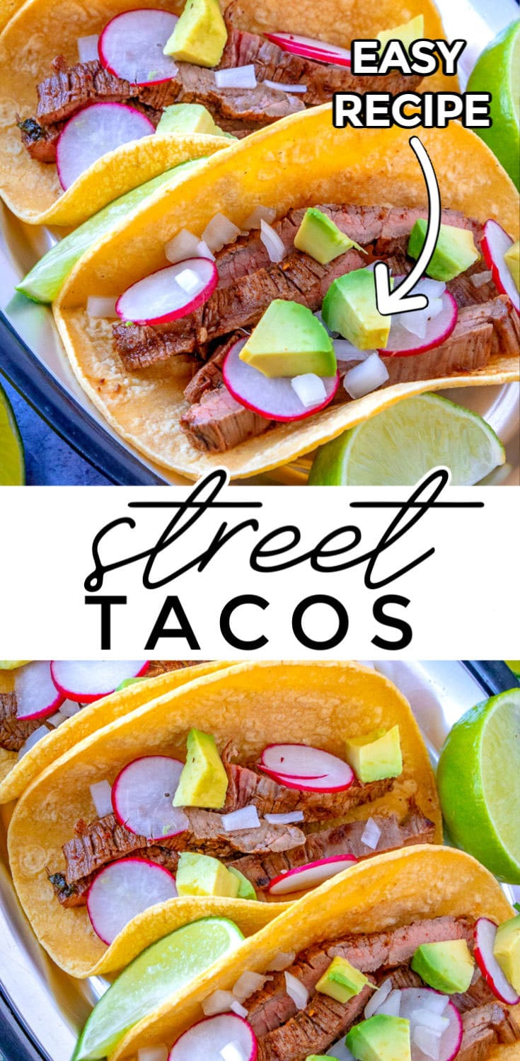 Carne Asada Street Tacos, or tacos de carne asada, is the best way to eat skirt steak! It's made by beautifully searing steak, slicing it thin and served on top of warmed corn tortillas with diced white onion, avocado, radishes, and lime wedges. via @foodfolksandfun