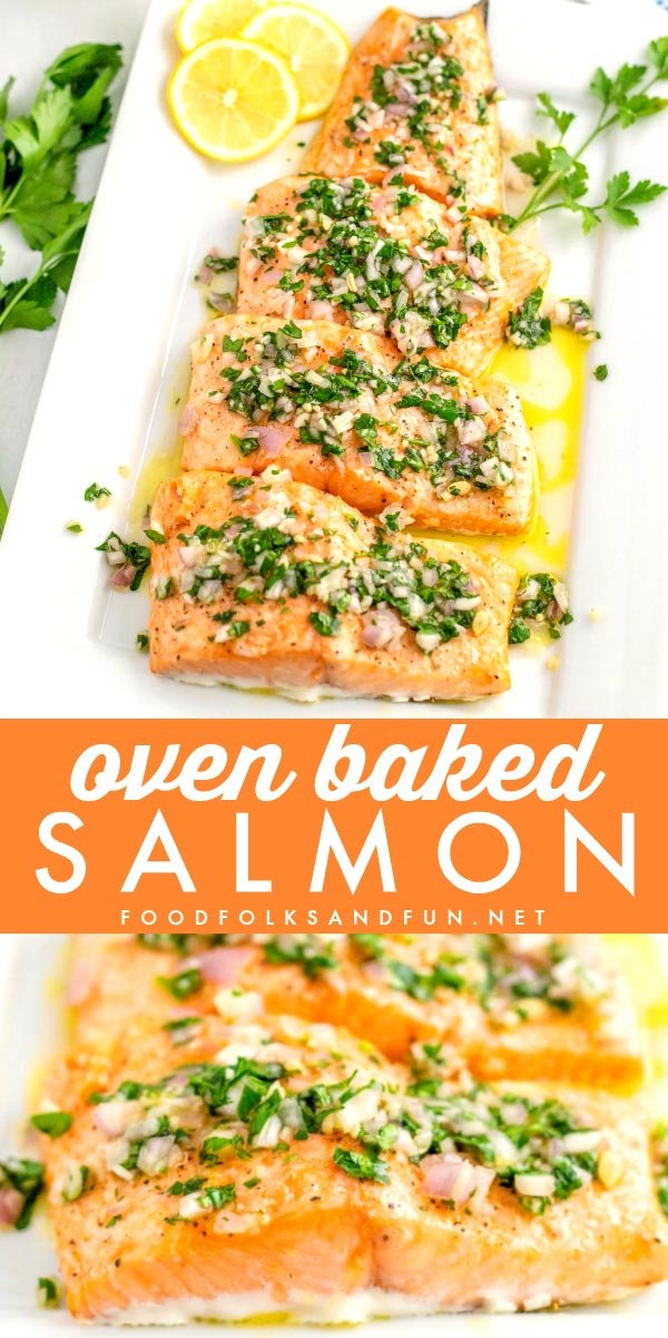 This easy baked salmon recipe is made in just 20 minutes and is completely delicious. It's topped with a quick and vibrant 1-minute lemon vinaigrette. via @foodfolksandfun