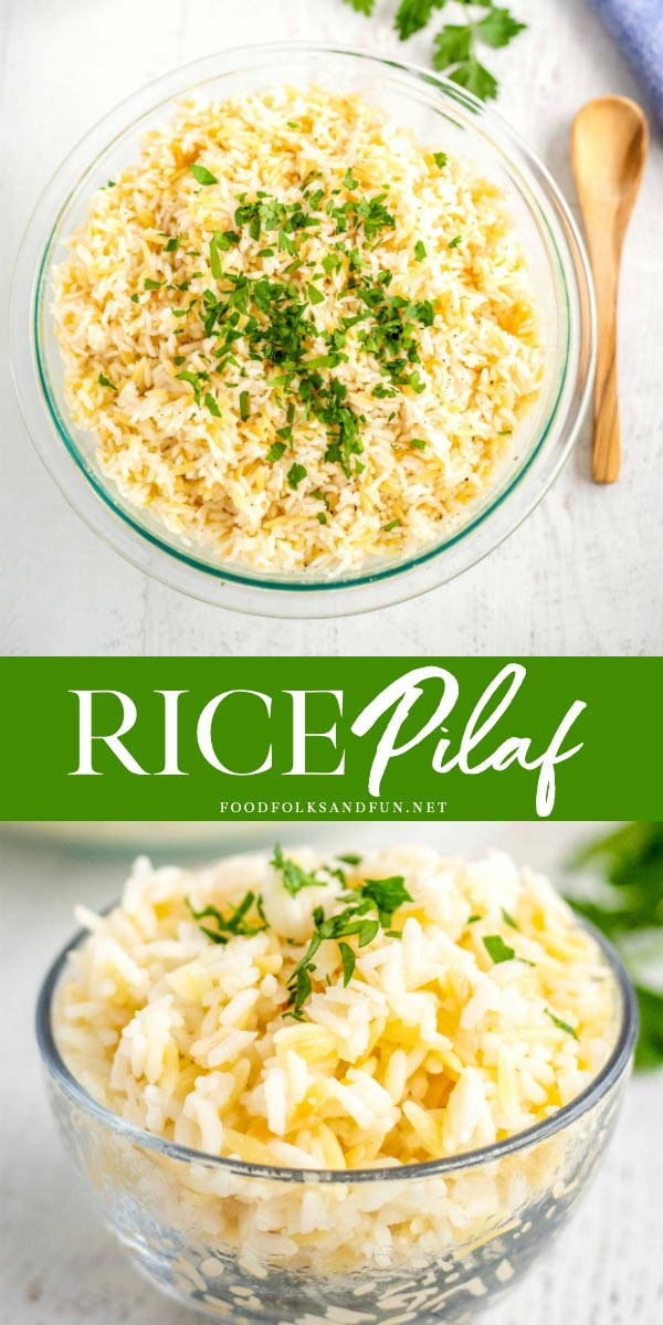 This Rice Pilaf with Orzo recipe is your new favorite side dish. Not only is it super simple to make, but it is so easy to customize for any meal or season with my 4 pilaf variations. via @foodfolksandfun