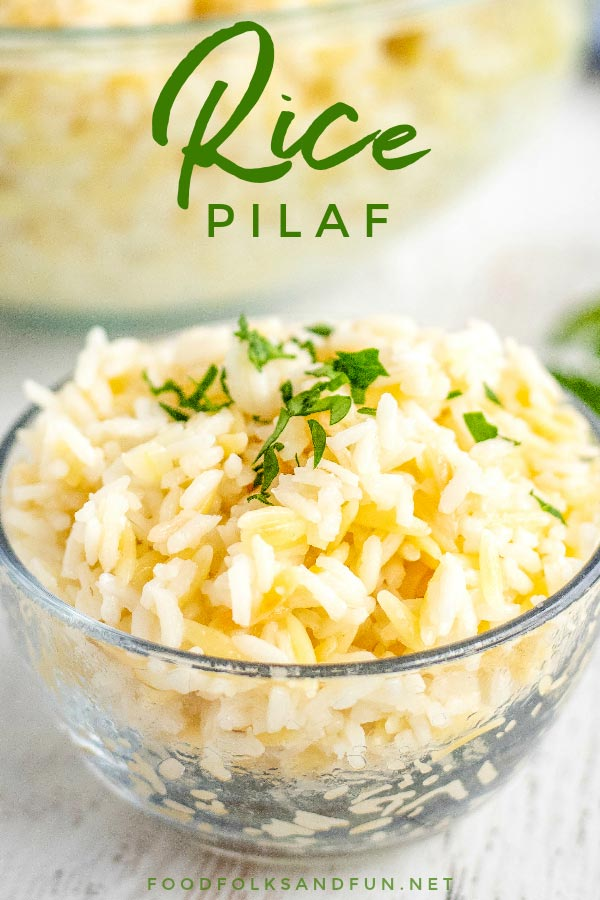 Close up picture of rice pilaf with text overlay on it.
