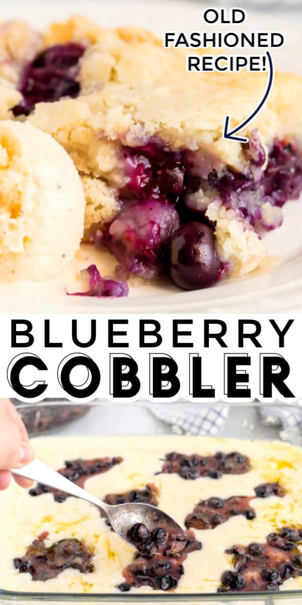 This Texas-Style Blueberry Cobbler recipe is just as much about the blueberries as it is about the cake! The cake bakes beautifully around the blueberries and it develops these crispy, buttery edges that you'll end up dreaming about! via @foodfolksandfun