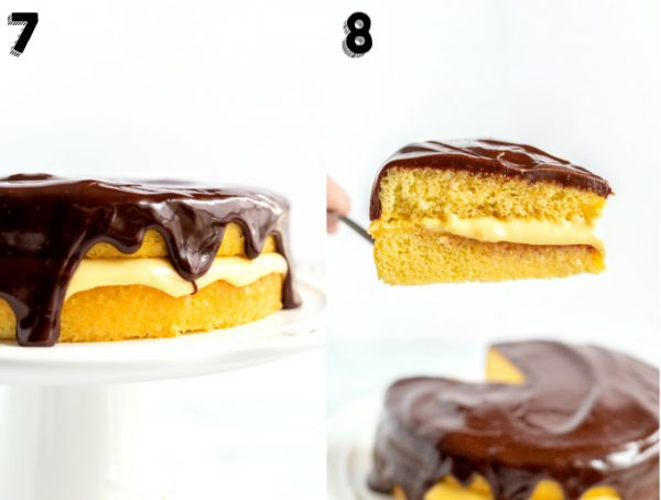 A slice of cake being listed from the Boston Cream Pie.