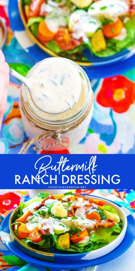 Jar full of buttermilk ranch dressing and a salad with the dressing on it.