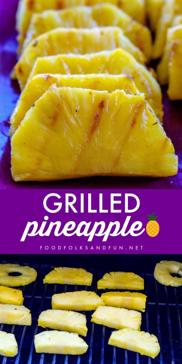 This Grilled Pineapple Recipe with brown sugar and honey screams summer! It's a great side dish for barbecues and a healthy dessert. via @foodfolksandfun
