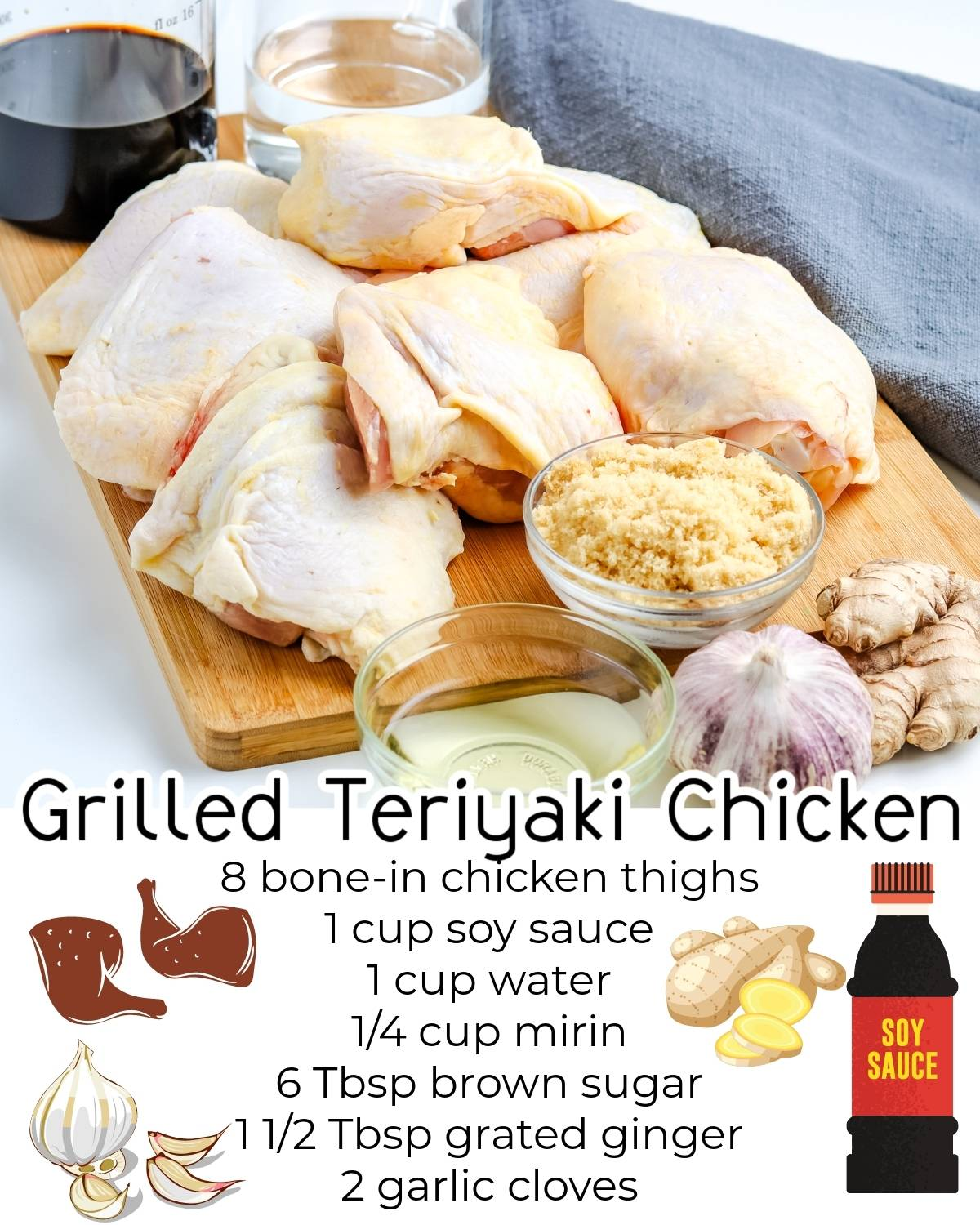 All of the ingredients needed to make this Grilled Teriyaki Chicken Thighs recipe.