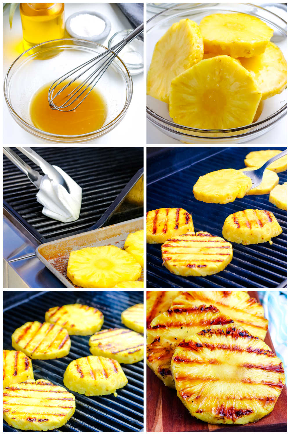 A picture collage of how to grill pineapple.