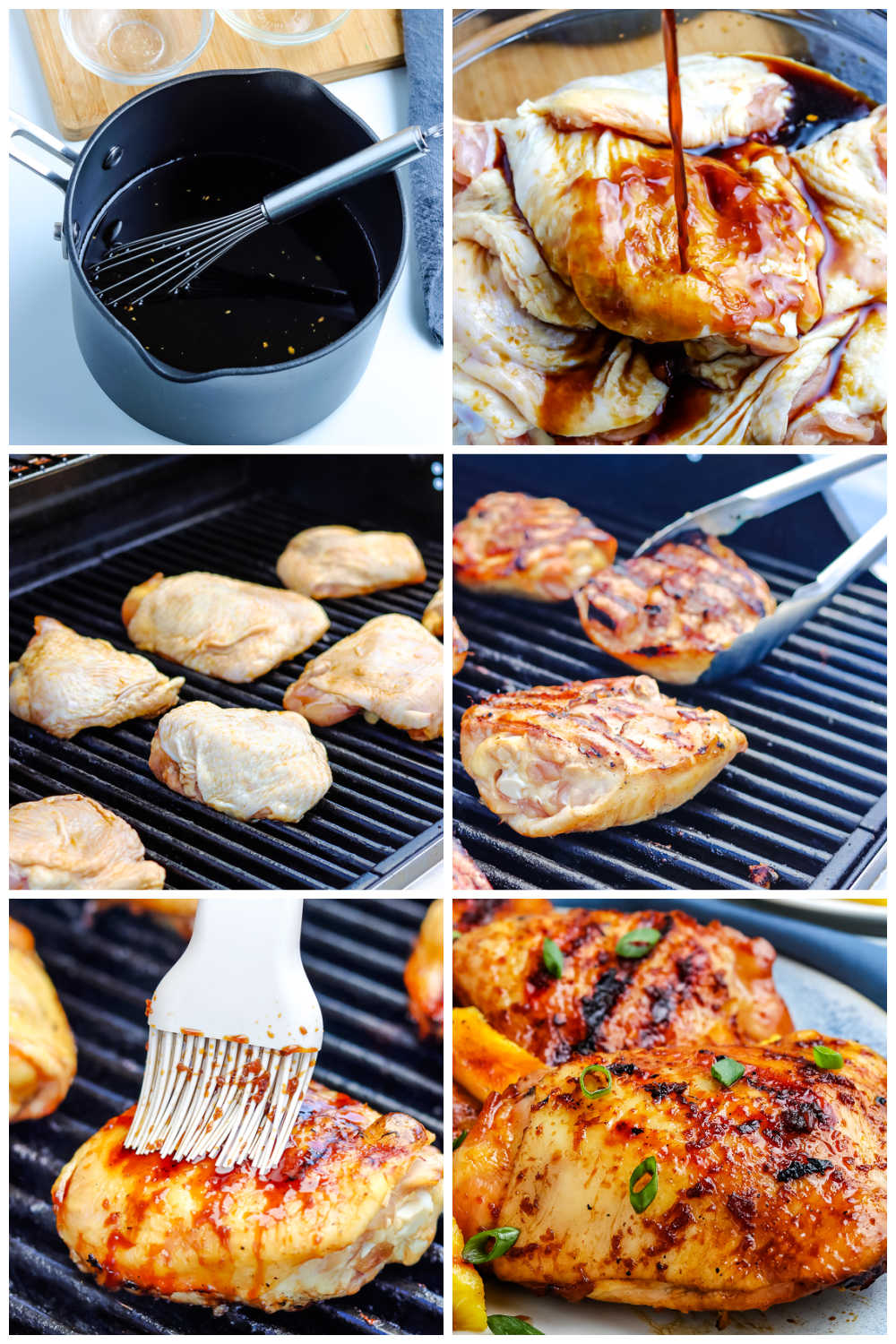 A picture collage of how to make Grilled Teriyaki Chicken Thighs.