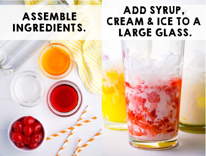 Add ice, cream, and syrup to a glass.