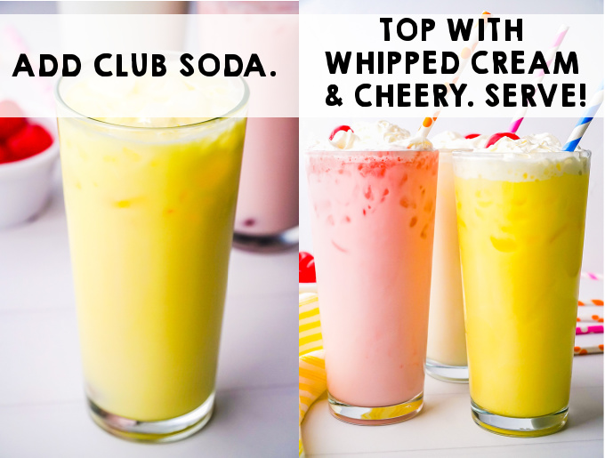 Add club soda and top with whipped cream and cherry.