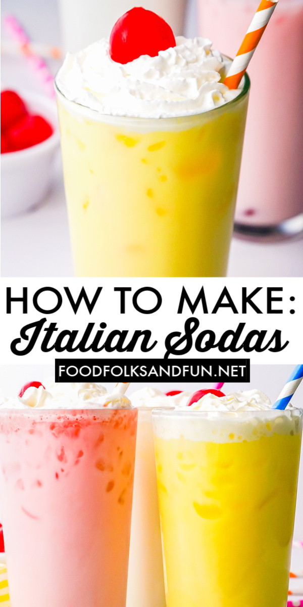 Italian Sodas are fun and easy drinks to customize. Let me show you how to make Italian soda at home with just 3 ingredients: sweet syrups, half-and-half, and club soda.  via @foodfolksandfun