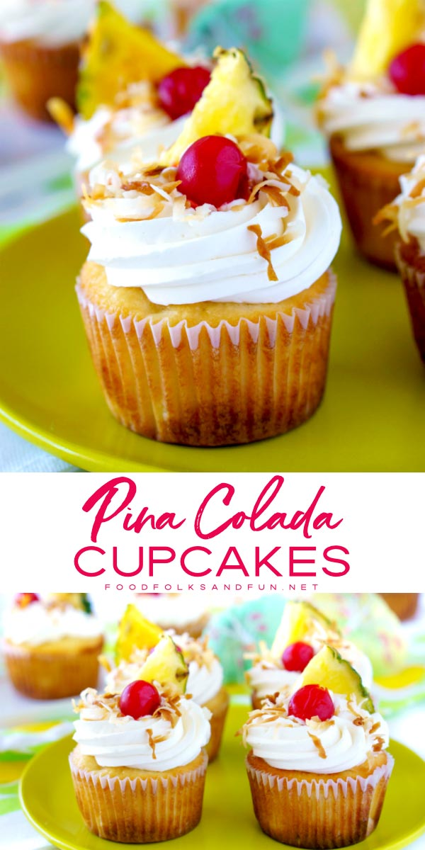 These Pina Colada Cupcakes have a coconut-pineapple cupcake base, rich coconut cream cheese frosting, and they're garnished with toasted coconut, pineapple triangles, maraschino cherries, and paper umbrellas. Basically, it's summer in cupcake form.  via @foodfolksandfun