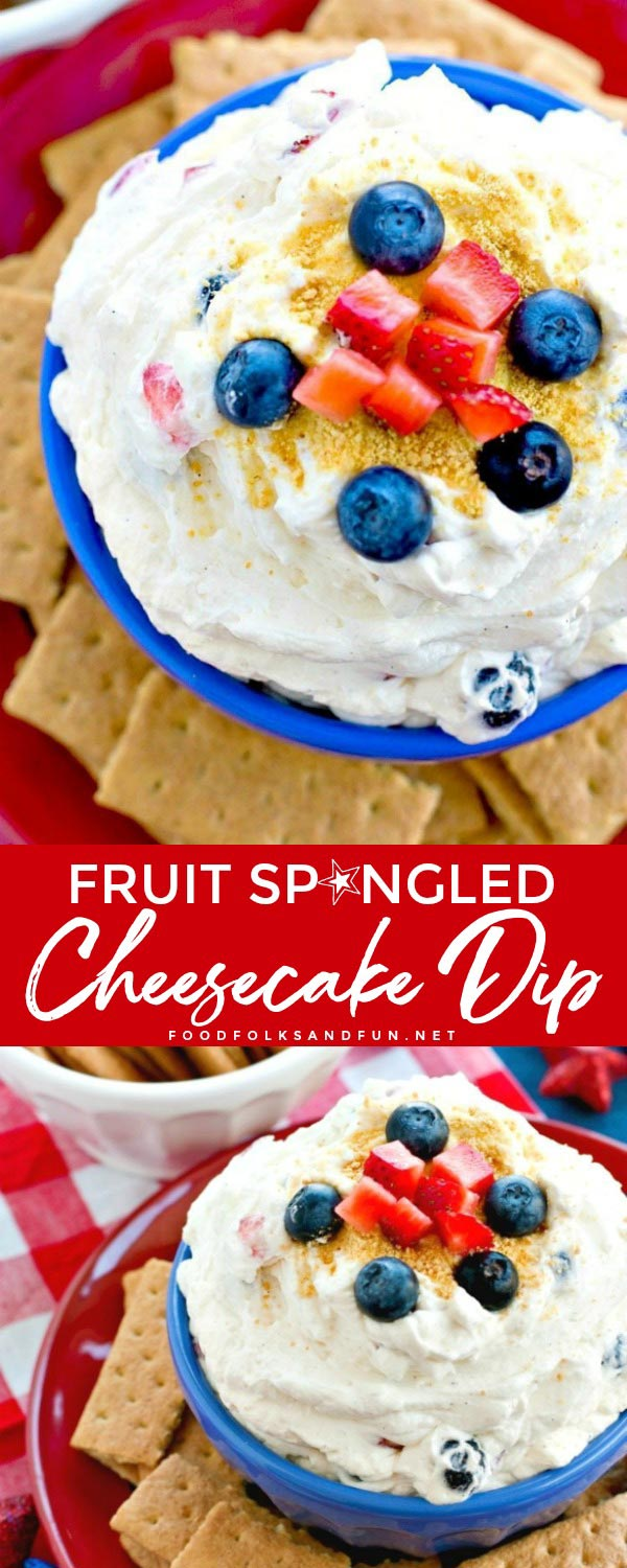 This Fruit Spangled Cheesecake Dip recipe is so easy to make and it comes together in just 5 minutes! It's great for patriotic potlucks and parties! via @foodfolksandfun