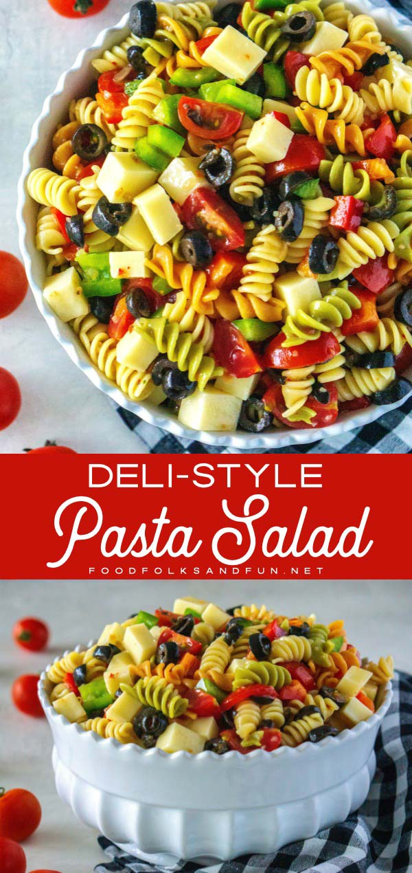 This easy pasta salad recipe is made with tricolor rotini, Italian dressing, mozzarella cheese, bell peppers, black olives, and cherry tomatoes. You'll be eating this pasta salad all summer long because the variations are endless, plus it's so easy to make!  via @foodfolksandfun