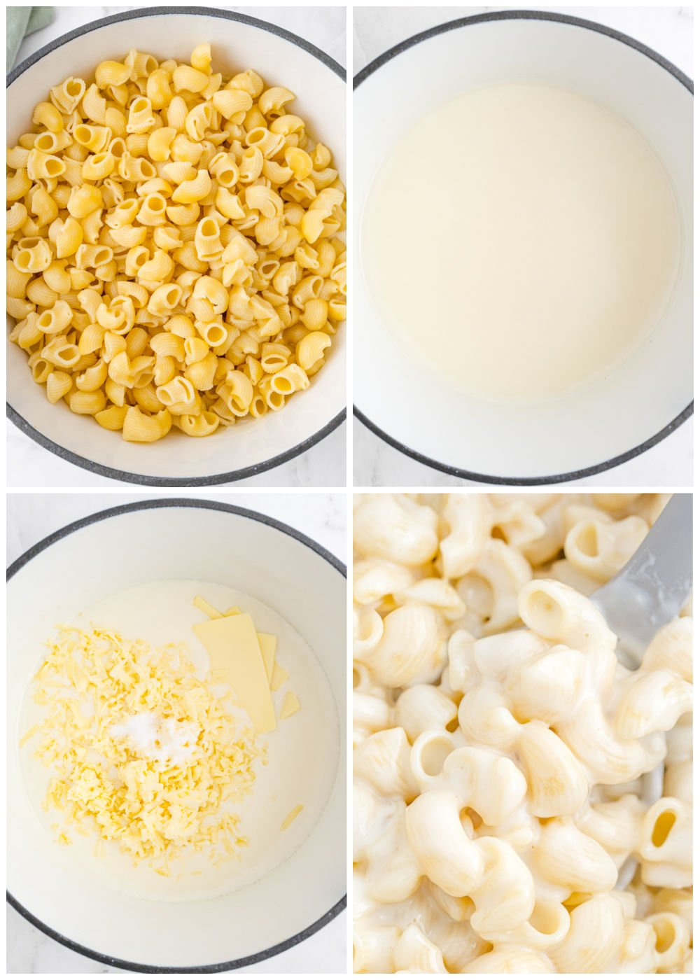 A picture collage of how to make this Panera Mac and Cheese recipe.