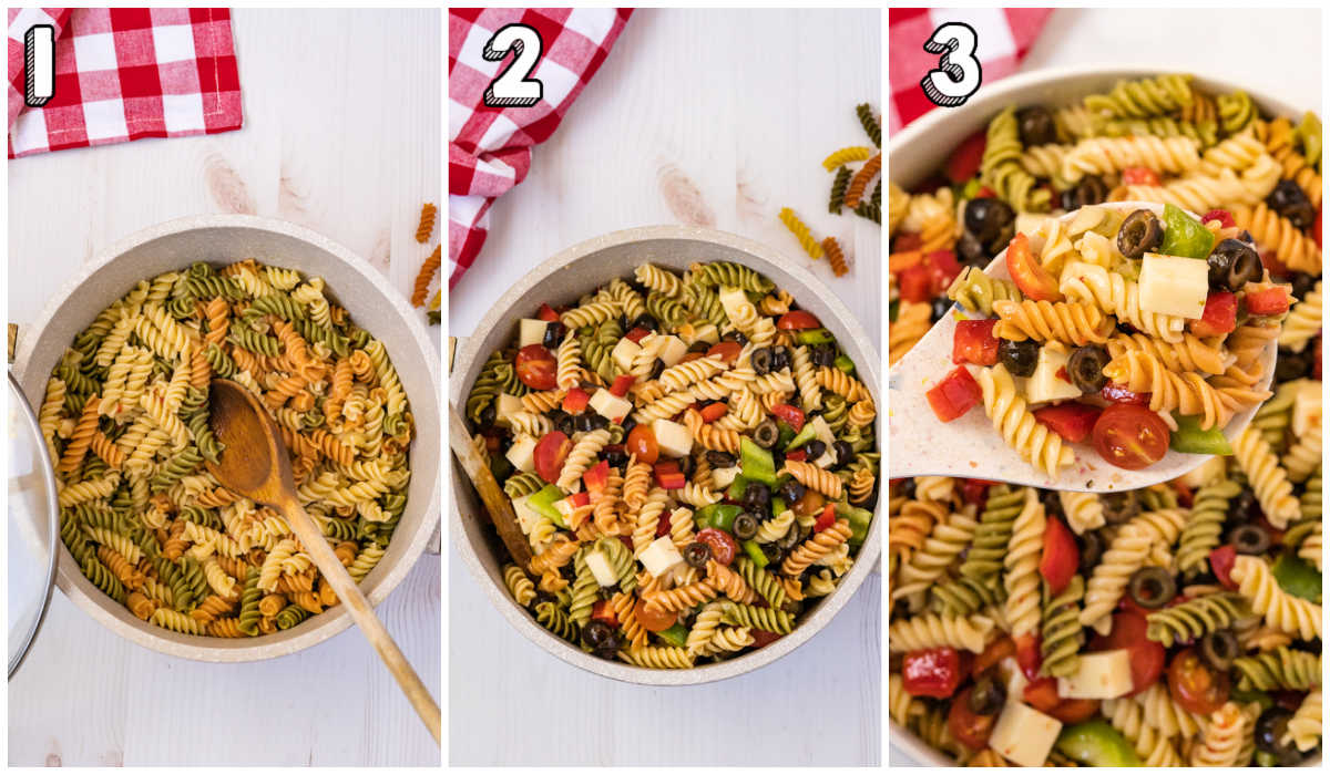 A picture collage of how to make this Tri Color Pasta Salad recipe.