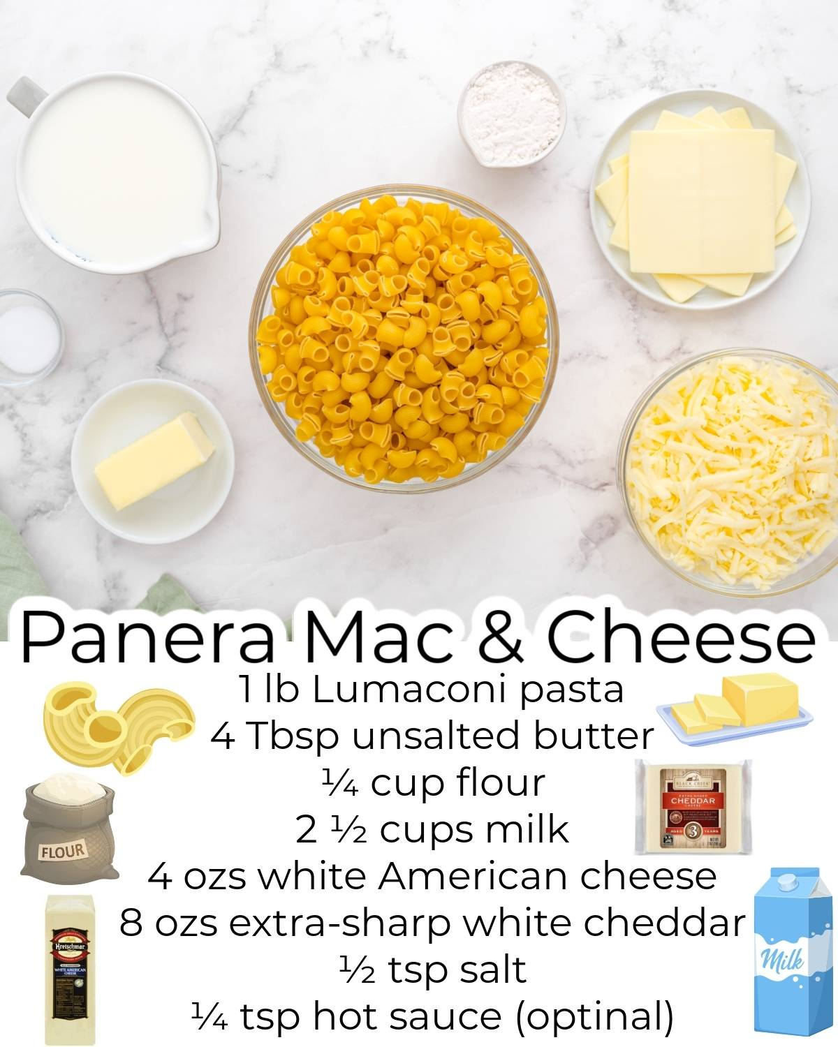 All of the ingredients needed to make this Copycat Panera Mac and Cheese recipe.