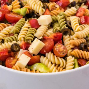 A close up picture of the finished Tri Color Pasta Salad.
