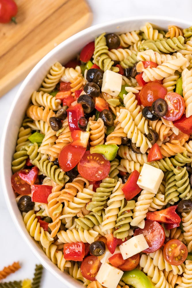 An overhead picture of the finished Tri Color Pasta Salad.