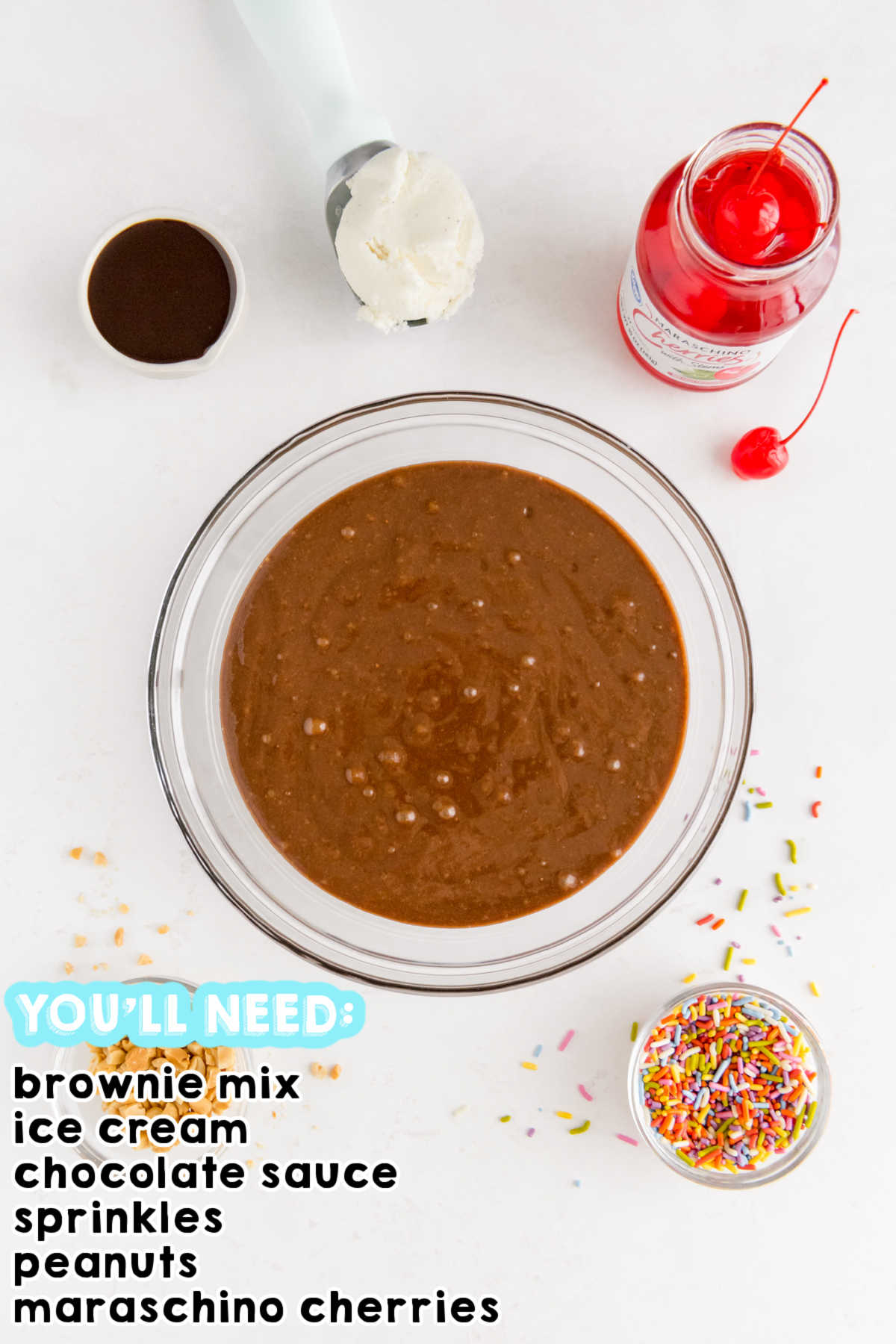 An overhead picture of all the ingredients to make brownie ice cream cupcakes.