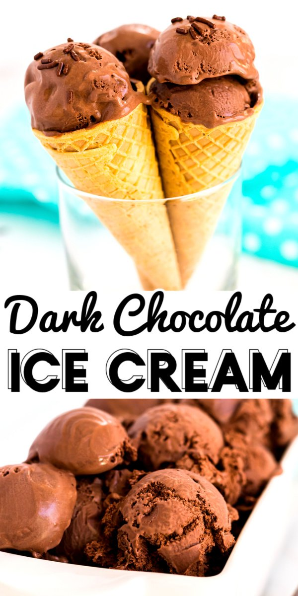 This Decadent Dark Chocolate Ice Cream will make all of your chocolatey dreams come true! It's rich, creamy, and the best chocolate ice cream I've ever had. via @foodfolksandfun