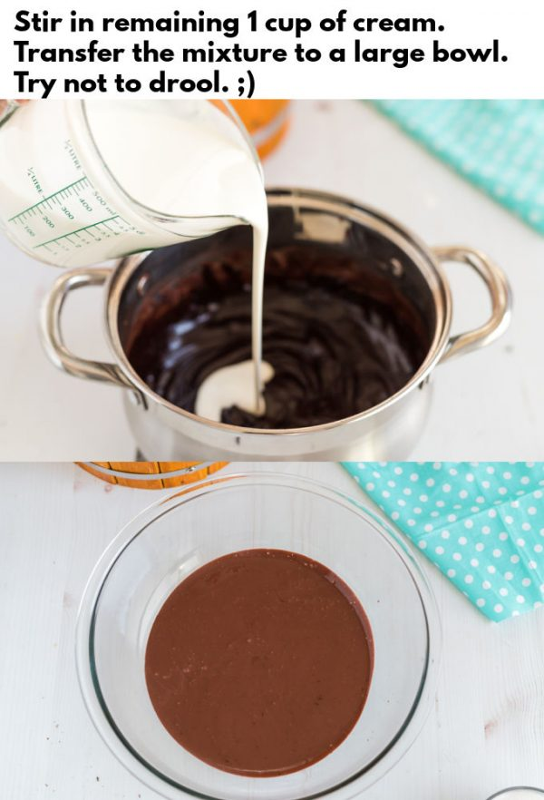 Remainign cream being poured into chocolate mixture.