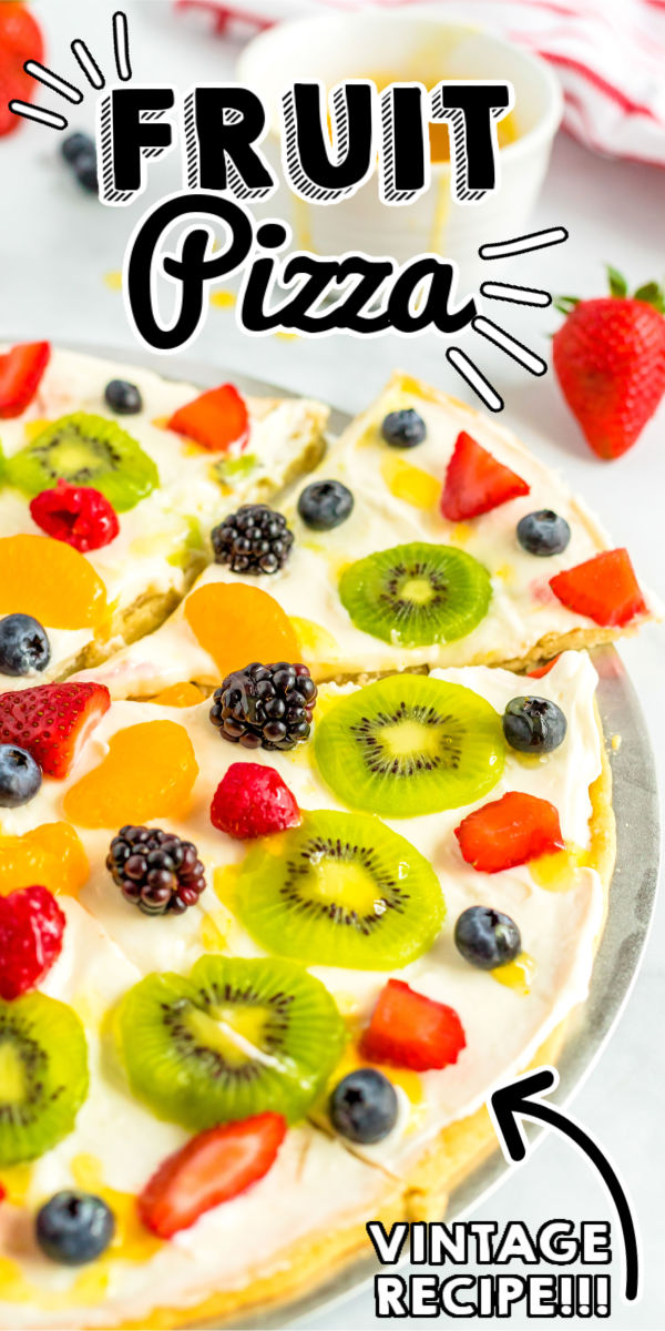 This Fruit Pizza recipe is a summertime classic that everyone loves. It has a sugar cookie crust, cream cheese-marshmallow frosting, loads of fruit, and a citrus glaze. via @foodfolksandfun