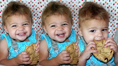 Collage of a toddler eating the perfect chocolate chip cookie