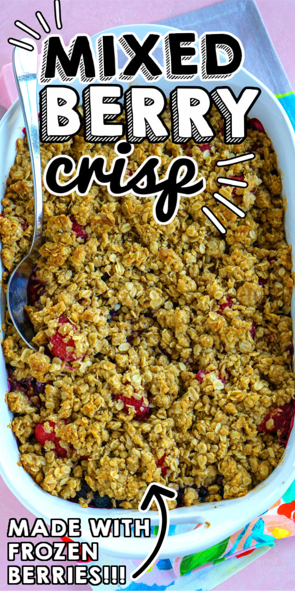 Juicy berries with a crispy golden oat topping make this Berry Crisp recipe simply irresistible. Use fresh or frozen berries to make this easy recipe. via @foodfolksandfun