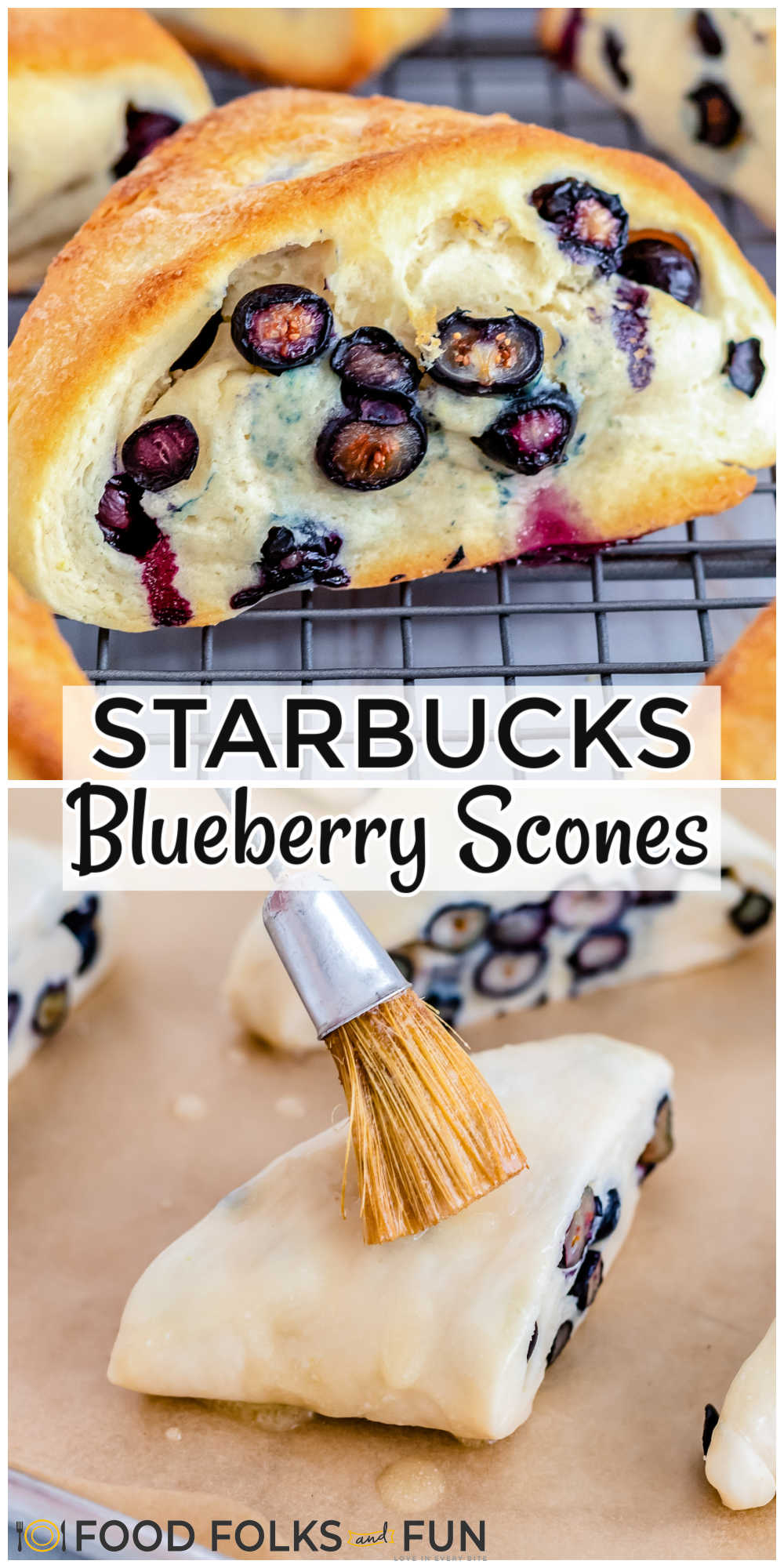 This is the best recipe for Starbucks Blueberry Scones. They're completely made from scratch and perfectly studded with fresh or frozen blueberries. via @foodfolksandfun