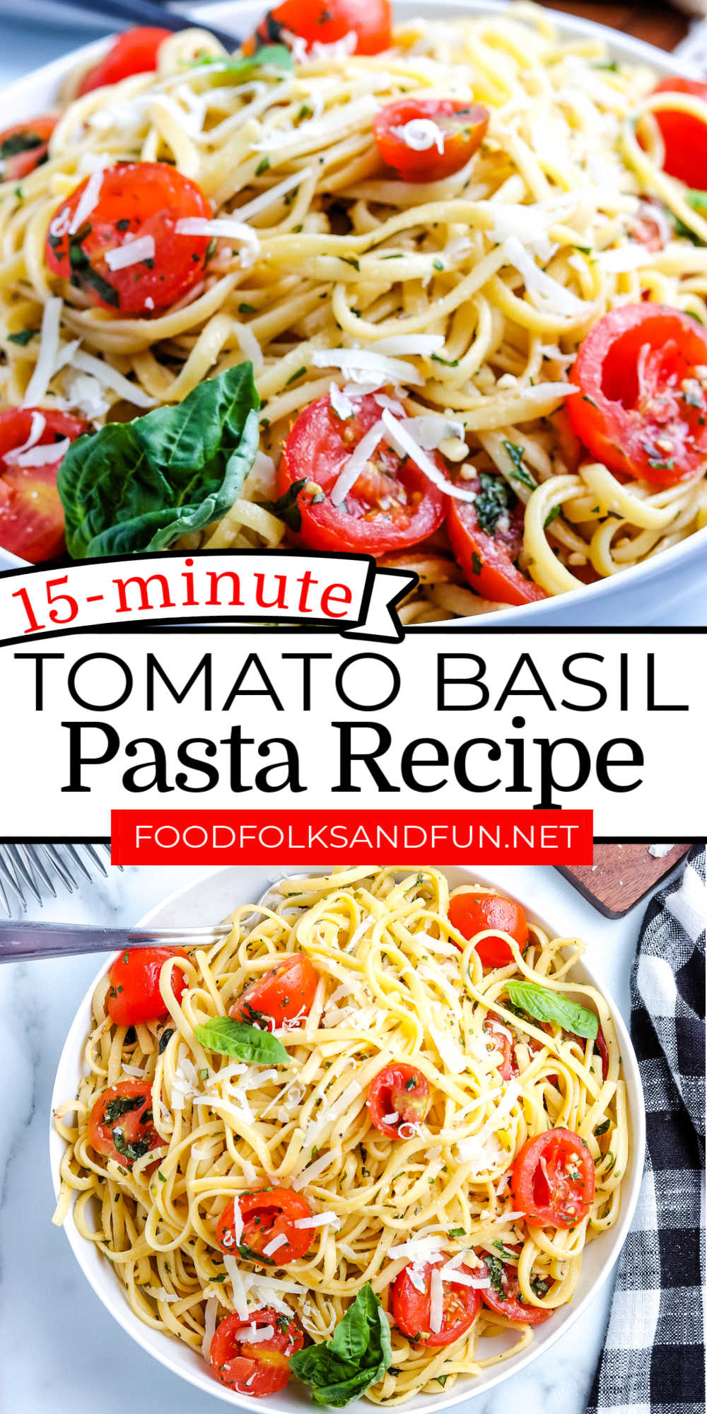 This Tomato Basil Pasta recipe is great for busy weeknights. The heat from the pasta warms the rest of the dish. 15 minutes is all you need, folks. Now, who doesn't love that?! via @foodfolksandfun