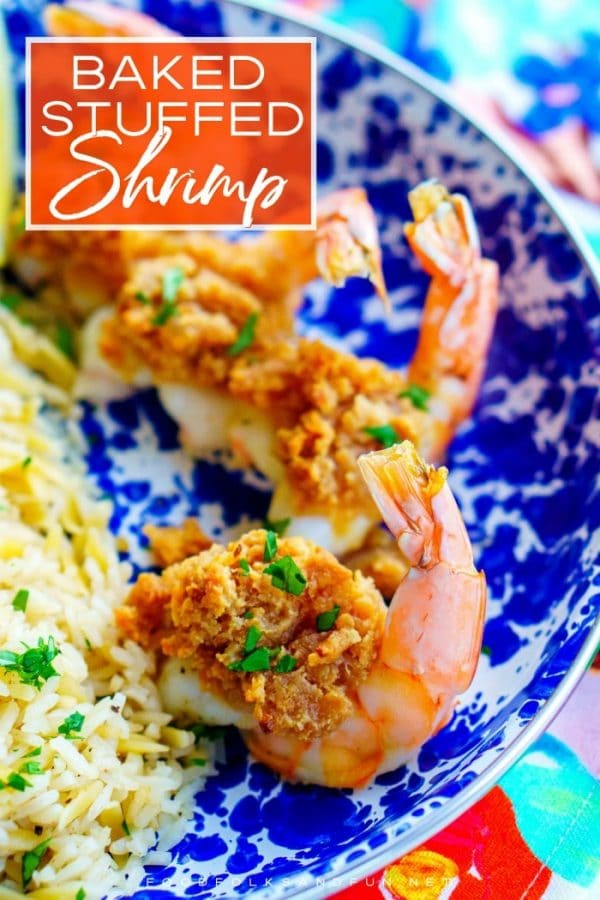 The finished Baked Stuffed Shrimp with text overlay for Pinterest.