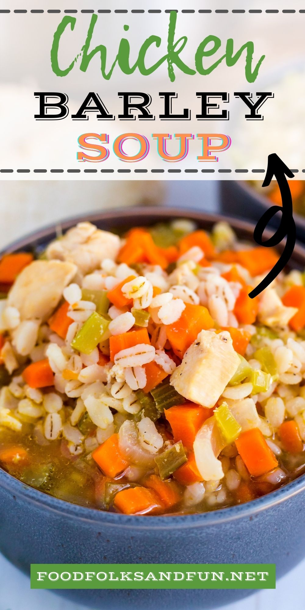 This flavorful Chicken Barley Soup is a comfort food classic that is perfect for soup season. It's quick and easy to make and full of delicious veggies. via @foodfolksandfun