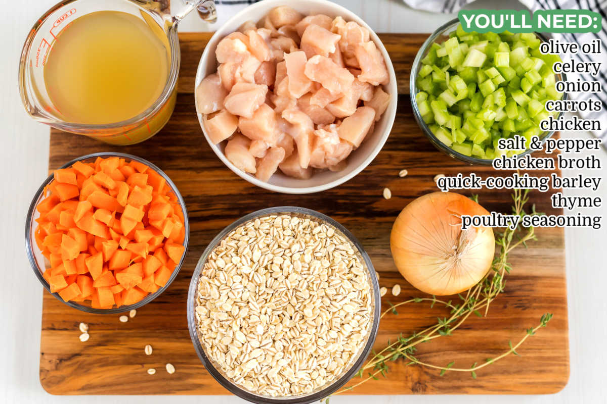 An overhead picture of all of the ingredients needed to make Chicken Barley Soup.