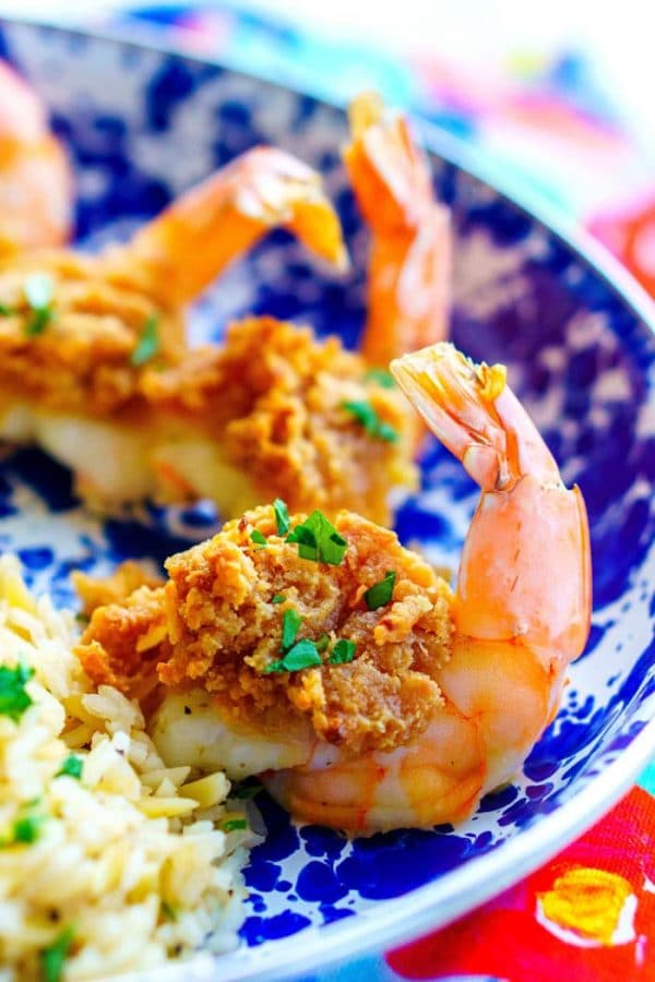 Baked Stuffed Shrimp on a serving plate.