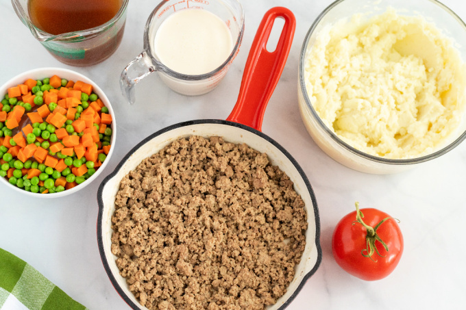 All of the ingredients needed to make this classic shepherd's pie recipe.