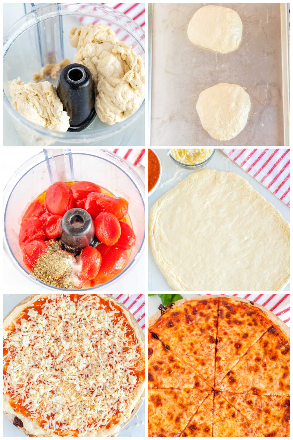 A picture collage of how to make NY Style Pizza.